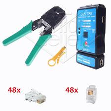 KIT TESTER CAVI LAN USB CRIMPATRICE 48 PLUG RJ11 RJ45 ETHERNET PC TELEFONO