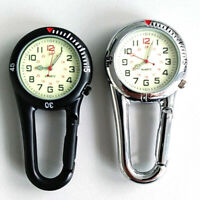Outdoor Mini Round Arabic Numbers Quartz Analog Clip Carabiner Hook Watch New