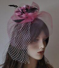 Fascinator Rose Clair Rose Bijou pour Cheveux Mariage Fleur Plumes Filet voile