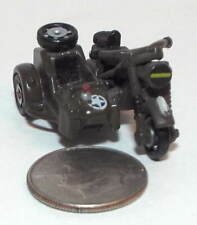 Small Micro Machine Plastic WWII type US Army BMW Motorcycle w/Sidecar in Green