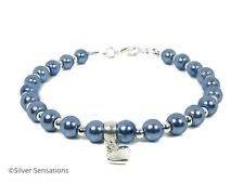 Cornflower Blue Pearls & Silver Heart Charm Beaded Fashion Bracelet Gift For Her
