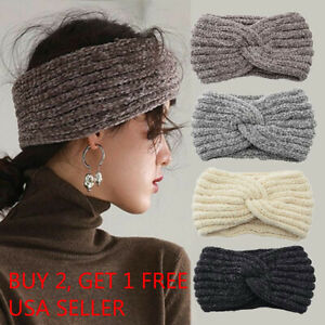 Women Winter Knitted Crochet Knotted Wide Headband Ear Warmer HeadWrap Turban