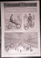 ORIG.1895 SCIENTIFIC AMERICAN PAPER SHOWING 1ST NATIONAL BICYCLE CONVENTION NYC.