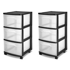 Sterilite 3-Drawer Storage Cart, Clear with Black Frame (2-Pack) | 2 x 28309002