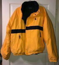 Vtg Nautica Yellow Green Reversible Duck Down Jacket Winter Coat XL X-Large