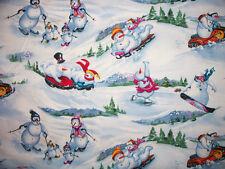 SNOWMEN SNOWBOARDS SKI SNOMOBILE SKATING SPORT COTTON FABRIC FQ OOP