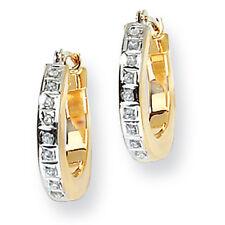 Ladies 14k Yellow Gold Diamond Diamond Fascination Hinged Hoop Earrings