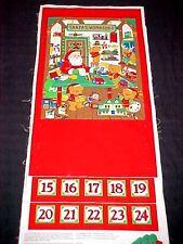 Vintage Beary Merry Christmas Santa's Workshop Advent Calendar Fabric Panel VIP