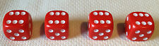 4 x RED Dice Dust Valve Caps novelty