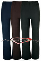 WOMEMS NURSE WORK CARER STRETCH ELASTICATED BOOTLEG TROUSERS 10 SIZES 3 COLOURS