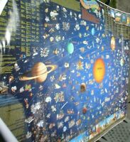 LARGE ASTRONOMICAL CHART / POSTER THE SOLAR SYSTEM  APPROX 120 X 90 CM SEE PICS