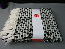 "Rivet Bubble Textured Fringe Throw Blanket 48""W x 60""L Black and Cream"