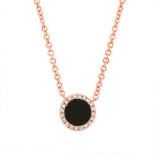 14K Rose Gold Natural Round Black Onyx and Diamond Circle Pendant Necklace
