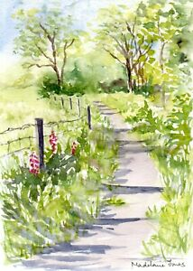 "Sunlit Woodland Path Exmoor 5.5""x 7.5"" Original Watercolour painting"