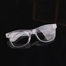 80s Nerdy Clear Transparent Thick Plastic Frame Horn Rim Wayfarer Eye Glasses