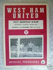 1963 WEST HAM UNITED v WEST BROMWICH ALBION, 2nd Nov (League Division One)