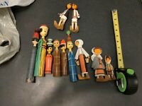 "vintage lot of 11"" hand made Polish / Dutch wooden peg dolls"