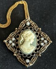 Vintage Square Lady Head Cameo Pin Necklace Pendant Faux Pearl Antique style NOS