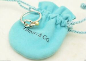 AUTHENTIC Tiffany & Co 18K Gold * LOVE KNOT * Silver 925 Ring SIZE 5.5
