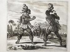 Montanus America Original Print Indian Brazil Boxing - 1671