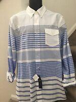 Ralph Lauren Mens Long Sleeve Oxford Striped Shirt White Blue Size XL XLarge