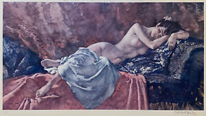 SIR WILLIAM RUSSELL FLINT Original Pencil Signed Lithograph Reclining Nude II