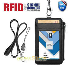 ID Badge Holder w/ Neck Lanyard Double Sided PU Leather Wallet Case Card Slots