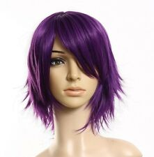 Vogue Short Purple Straight Party Cosplay Fashion Men's Women's Hair Full Wig US