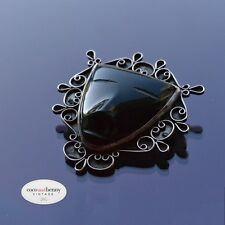 *Vintage Stunning 80s Mexican Black Onyx Mask Silver Surround Brooch