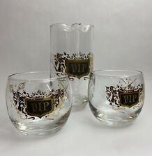 New ListingVintage Vip Roly Poly Cocktail Mcm Mad Men Pitcher Bar Glass Set Gold Lion Sword