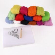 Lot de 15 couleurs laine a feutrer + 10 aiguilles + support en mousse N1U7