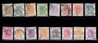 HONG KONG - Lot of 16 Vintage Used George VI, Elizabeth II Hong Kong Stamps