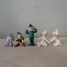 New listing Vintage Ceramic Pixie Elf Gnome Figurines 1950s Lot of 5 Japan Lustreware Etc