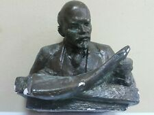 LENIN READING FIGURINE BUST SCULPTURE CCCP SOVIET LEADER COMMUNIST ERA 2KG GIPS