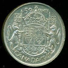 1949 King George VI, Silver Fifty Cent Piece  F132