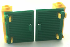 *NEW* 2 LEGO YELLOW BRICK 1x1x3 with 2 GREEN SHUTTERS 1x2x3