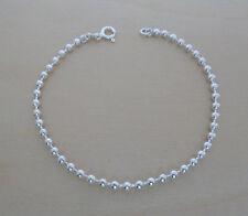 """925 Sterling Silver Ball Bead Bracelet 19 cm / 7.5"""" Long & Balls 2.5 mm Diameter"""
