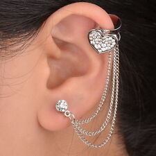 Flossy 1PC Heart Silver Plated Left Ear Chain Stud Wrap Clip Cuff Earring