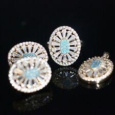925 Sterling Silver Handmade Antique Turkish Turquoise Ladies Set Ring 6-11
