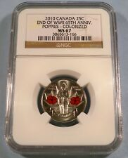 2010 CANADA 25c POPPY COLORIZED NGC MS67 QUARTER 1945 END OF WW2 2010