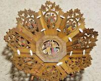 "Vintage Carved Wood Wooden Bowl W/ Panels & Hand Painted Design 10"" Diameter"