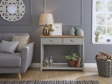 Grey and Oak 2 Drawer Console Table with shelf Hall Storage Lancaster Range