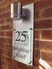 MODERN HOUSE SIGN PLAQUE NUMBER STREET GLASS ALUMINIUM EFFECT XL A4, SOLAR LIGHT