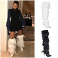 Womens White Thigh High Pointed Toe Feather Fringe Stiletto Heel Boot Shoes New