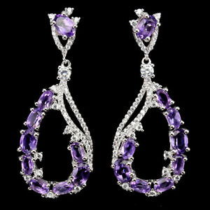 Unheated Oval Amethyst Cz 14K White Gold Plate 925 Sterling Silver Earrings