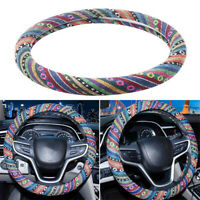 38cm/15 Ethnic Style Breathable Flax Car Steering Wheel Cover Decor Protection