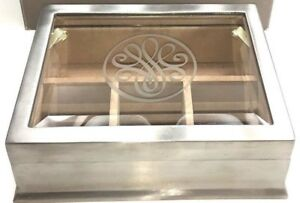 "BOMBAY Silver NICKEL Beveled GLASS Top JEWELRY BOX Demo Model Appx 7.5""x6""x 2.5"""