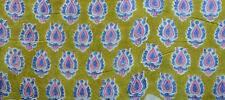 Indian Flower Hand Block Print Ethnic Fabric Running Loose Sewing Vintage Craft