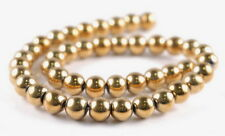 12MM GOLD HEMATITE GEMSTONE ROUND LOOSE BEADS 16""