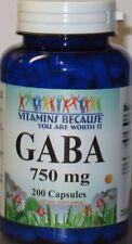 GABA 750mg 200 Capsules High Potency, Freshest! Made USA/FDA Facility